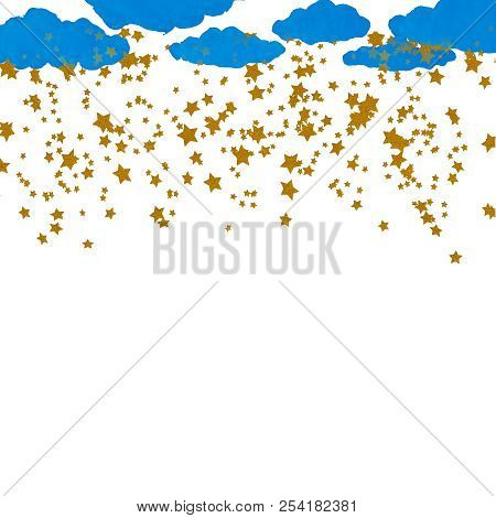 Blue Watercolor Clouds and Gold Stars, Digital Gold Stars Confetti