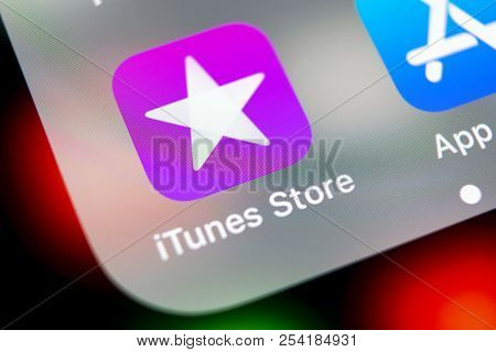 Sankt-petersburg, Russia, August 16, 2018: Apple Itunes Store Application Icon On Apple Iphone X Sma