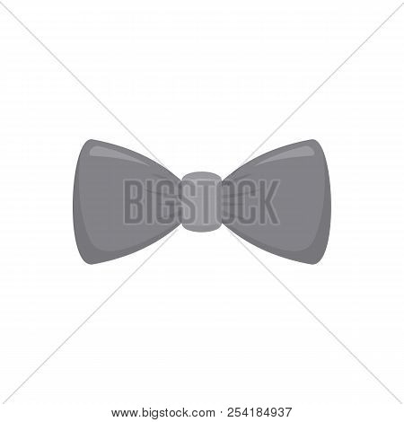 Grey Bow Tie Icon. Flat Illustration Of Grey Bow Tie Icon For Web Isolated On White