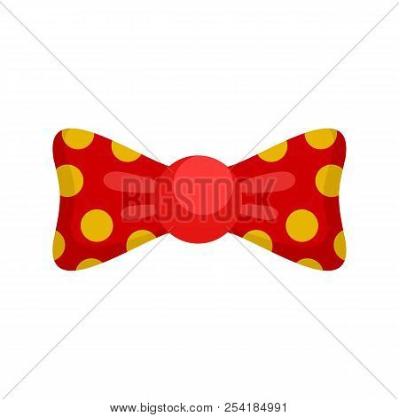 Red Yellow Bow Tie Icon. Flat Illustration Of Red Yellow Bow Tie Icon For Web Isolated On White
