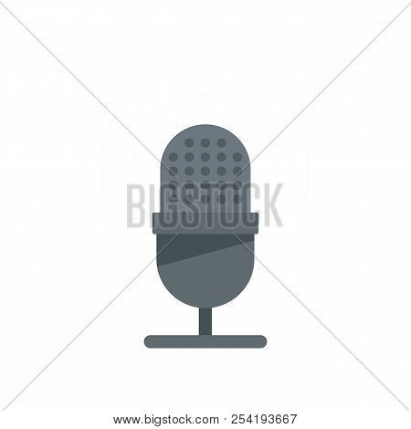 Studio Microphone Icon. Flat Illustration Of Studio Microphone Icon For Web Isolated On White