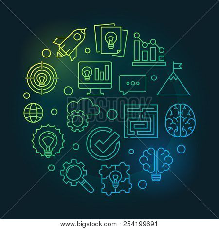 Brainstorm Round Creative Thin Line Illustration. Vector Brainstorming Concept Linear Symbol On Dark