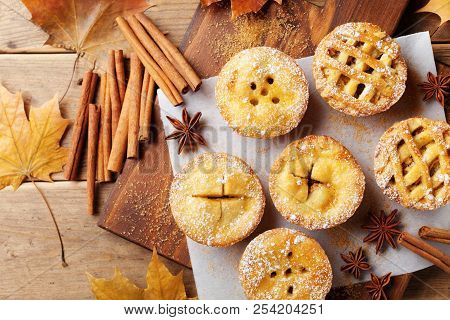 Set Of Different Mini Apple Pies Decorated Sugar Powder And Cinnamon On Wooden Board Top View. Autum