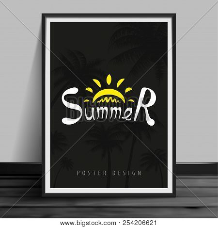 Stock Vector Illustration Mockup Mock Up Realistic Picture Template Night Billboard Summer. Nighttim