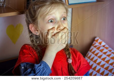 harm from watching TV and news. little girl is scared watching TV poster