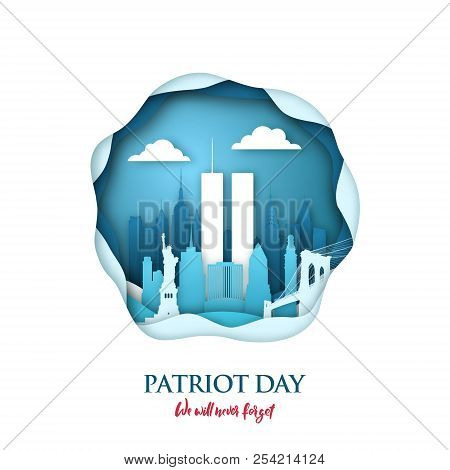9/11 Patriot Day Paper Art Card With Twin Towers In New York Skyline. World Trade Center. Usa Patrio