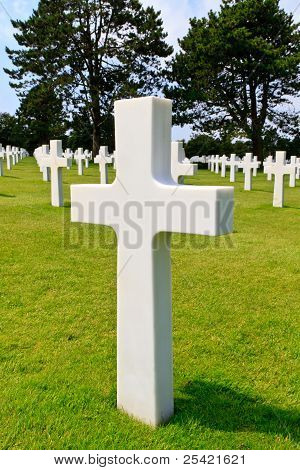 Marble Cross Of Fallen Soldier, American War Cemetery Near Omaha Beach, Normandy (colleville-sur-mer