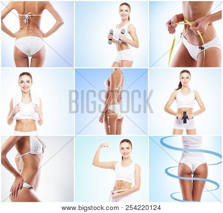 Healthy, sporty and beautiful girl isolated on white background. Woman in a fitness workout collection. Nutrition, diet, sport and body care concept.