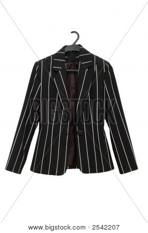 Striped Black Jacket Isolated On The White