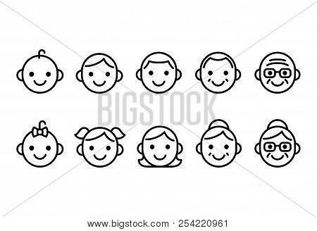 Line Icons Of People Of Different Ages, From Baby To Senior, Male And Female. Cute And Simple Icon S