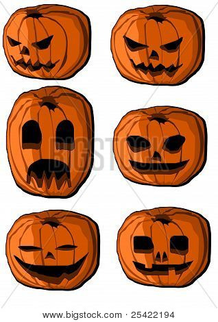 Collection of halloween pumpkin lanterns