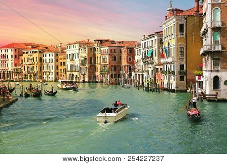 Venice, Italy, Jun 8, 2018: View Of Grand Canal With Gondolas And Boats With Tourists In Venice, Ita