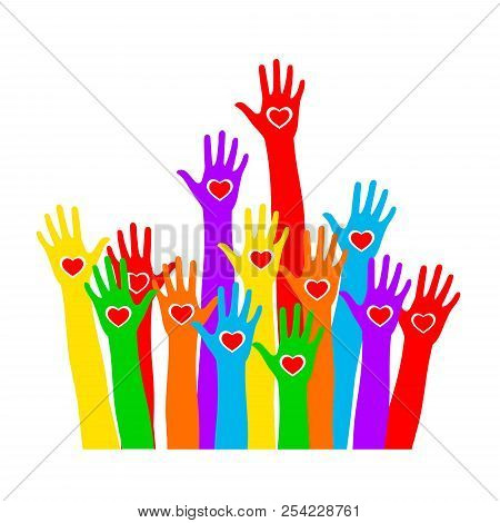 Colors Hands With Heart Up. Rainbow Colors Colorful Caring Up Hands Hearts Vector Logo Design Elemen