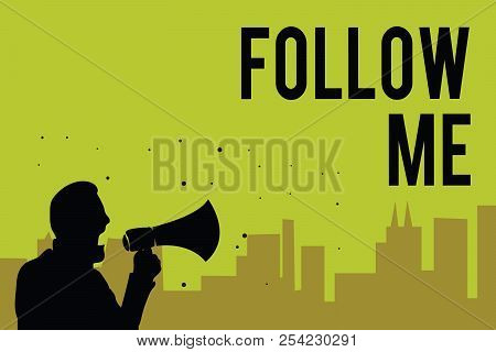 Handwriting text Follow Me. Concept meaning Inviting a person or group to obey your prefered leadership Man holding megaphone speaking politician making promises green background. poster