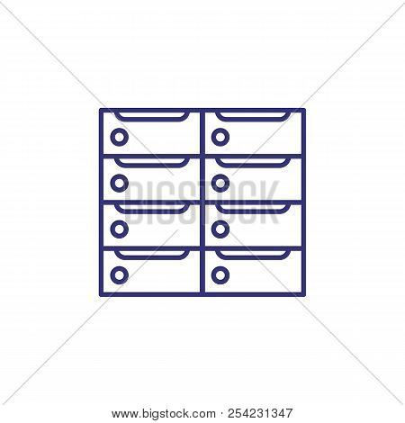 Banking Locker Line Icon. Paper Trays, File Cabinet, Archive. Bank Concept. Vector Illustration Can