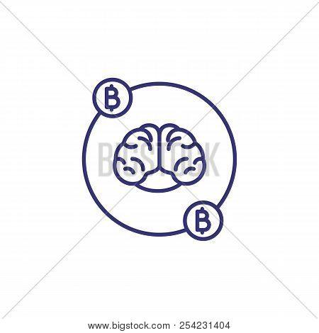 Bitcoin And Brain Line Icon. Bitcoin Thinking, Artificial Intelligence, Bitcoin Technology. Cryptocu