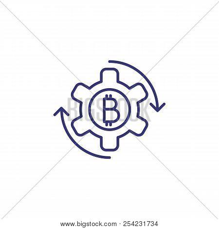 Bitcoin Symbol In Cogwheel Line Icon. Bitcoin Working, Bitcoin Development, Digital Money. Cryptocur