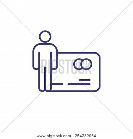 Credit Card Holder Line Icon. Membership Card, Id Card, Bank Client. Bank Concept. Vector Illustrati