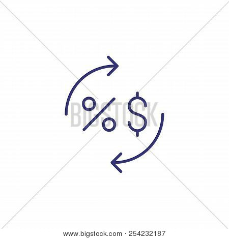 Dollar And Percentage Circulation Line Icon. Discount, Interest Rate, Tax. Bank Concept. Vector Illu
