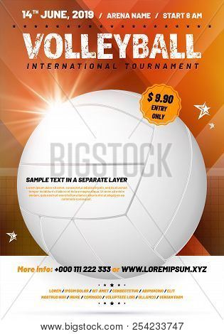 Poster Template For Your Volleyball Design With Sample Text In Separate Layer - Vector Illustration