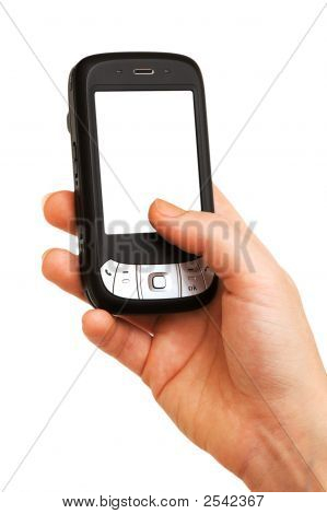 Mobile Phone With Blank Screen Isolated On White