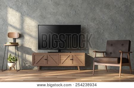 Loft Style Living Room With 3d Render.there Is A Polished Concrete Wall And Wood Floor .furnished Wi