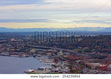 Aerial View On Lake Union And Suburban Seattle Nearby. Lake Union Panorama During Sunset In Autumn.