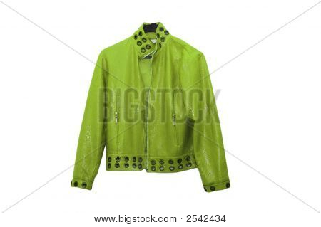 Green Leather Jacket Isolated On The White