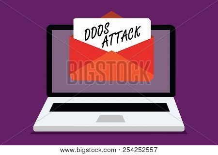 Conceptual hand writing showing Ddos Attack. Business photo text perpetrator seeks to make network resource unavailable Computer receiving email important message envelope paper virtual. poster
