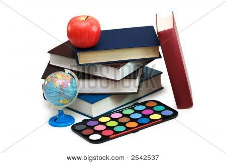 Back To Scholl Concept With Books And School Items