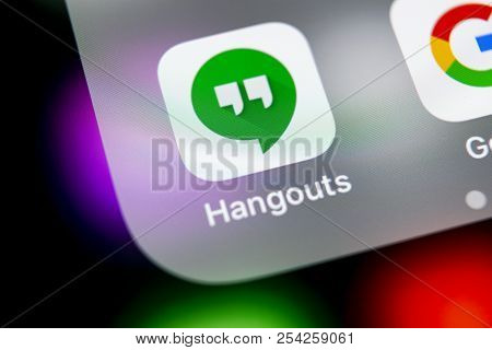 Sankt-petersburg, Russia, August 16, 2018: Google Hangouts Application Icon On Apple Iphone X Smartp