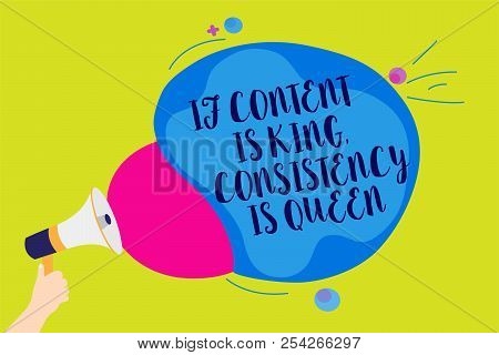 Text sign showing If Content Is King, Consistency Is Queen. Conceptual photo Marketing strategies Persuasion Man holding Megaphone loudspeaker screaming talk colorful speech bubble. poster