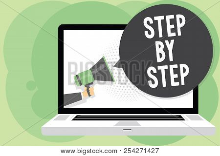 Text Sign Showing Step By Step. Conceptual Photo Slow Progress Road To Success Direction Development