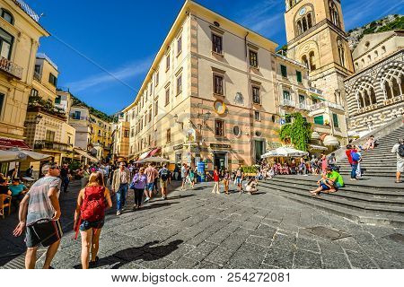 Amalfi, Italy - September 18 2016: The Center Of The Town Of Amalfi On The Amalfi Coast Of Italy Wit