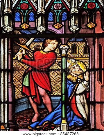 PARIS, FRANCE - JANUARY 10: Martyrdom of Saint Eugene, stained glass window in the Saint Eugene - Saint Cecilia Church, Paris, France on January 10, 2018.