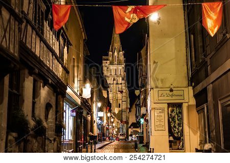 Bayeux, France - September 19 2017: Late Night In The Normandy Village Of Bayeux France As Tourists