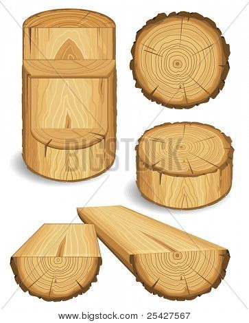 Set of wooden materials – Wood, Boards, Logs, and Objects with cross section of tree trunk. Vector illustration isolated on white background.