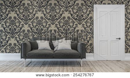 Dark gray sofa chair with three pillows in room with paisley brown tone wallpaper in background over hardwood floor. 3d Rendering
