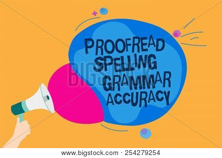 Word writing text Proofread Spelling Grammar Accuracy. Business concept for Grammatically correct Avoid mistakes Man holding Megaphone loudspeaker screaming talk colorful speech bubble. poster