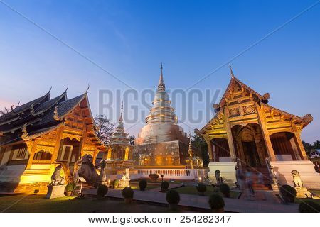 Phra Singh Temple Twilight Time ,chiang Mai Thailand