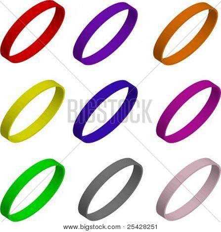 Vector illustration set of colorful 3d bracelets/rings/wristbands