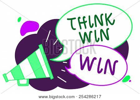 Conceptual Hand Writing Showing Think Win Win. Business Photo Text Business Strategy Competition Cha