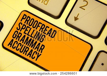 Handwriting text writing Proofread Spelling Grammar Accuracy. Concept meaning Grammatically correct Avoid mistakes Keyboard orange key Intention create computer computing reflection document. poster