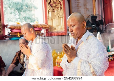 Ordination Ceremony In Buddhist Change Man To Monk