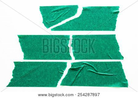 Set Of Green Tapes On White Background. Torn Horizontal And Different Size Green Sticky Tape, Adhesi