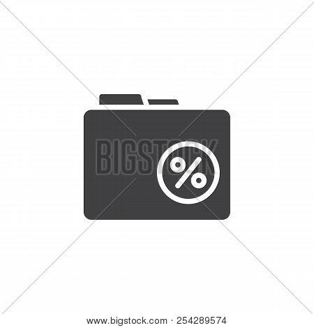 Percentage Folder Vector Icon. Filled Flat Sign For Mobile Concept And Web Design. Financial Folder
