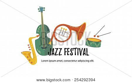Vector Illustration, Banner Design Template With Musical Instruments. Musical Event Icon. Template F