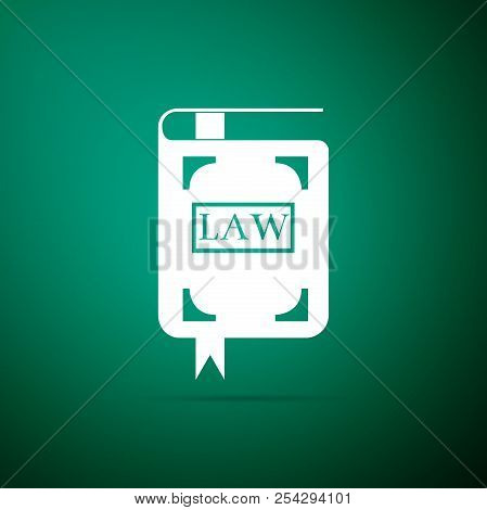Law Book Icon Isolated On Green Background. Legal Judge Book. Judgment Concept. Flat Design. Vector