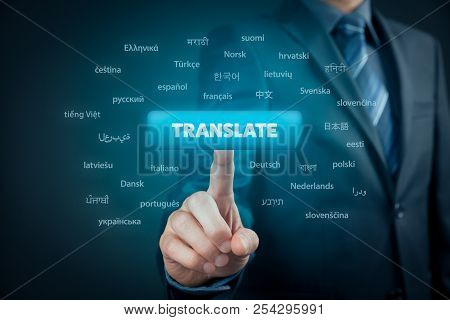 Online Translator And Language E-learning Course Concept. Computer User Press Button With Text Trans