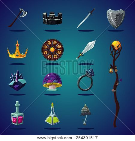 Legendary Asset. Set Of Magic Items And Resource For Computer Fantasy Game. Isolated Cartoon Icons S